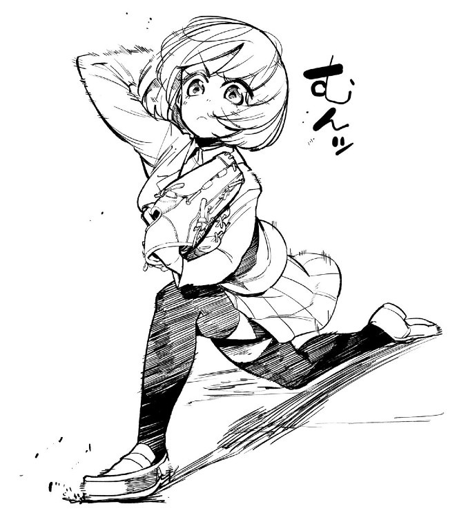 【らくがき】見たままも投げるのもド直球なスリークォーター女子