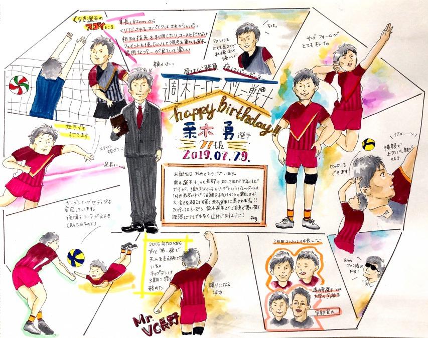 【VC長野トライデンツ】栗木選手お誕生日イラスト