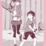 ぼくにテニスを教えるお姉さんは、大きい。